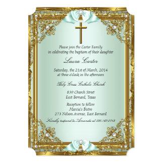 "Mint Gold Pearl Damask Cross Baptism Christening 2 5"" X 7"" Invitation Card"
