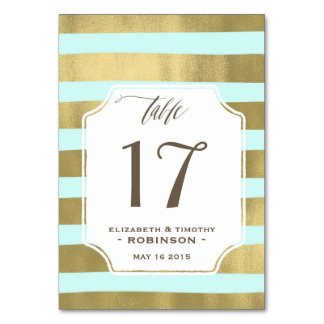Mint Gold stripes Table number