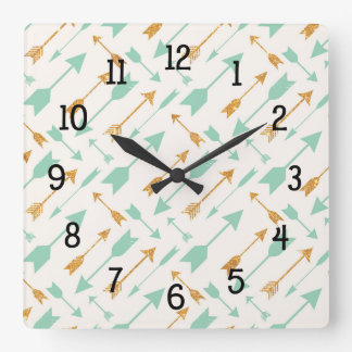 Mint Gold Tribal Aztec Arrows pattern clock