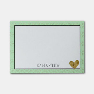 Mint Gold XOXO Personalized Gold Heart Post-it Notes