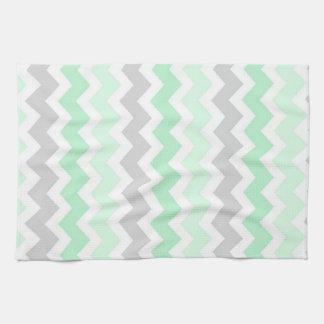 Mint Gray Chevron Kitchen Cloth Towel