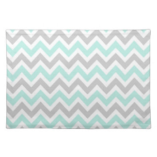 Mint & Gray Colorful Chevron Stripes Placemat