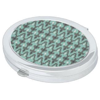 Mint Gray Geometric Ikat Tribal Decorative Pattern Compact Mirror