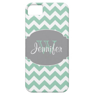 Mint & Gray Trendy Patterns monogram iPhone 5 Case For The iPhone 5