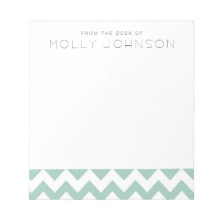 Mint Gree Chevron Bridesmaid Gift Notepad