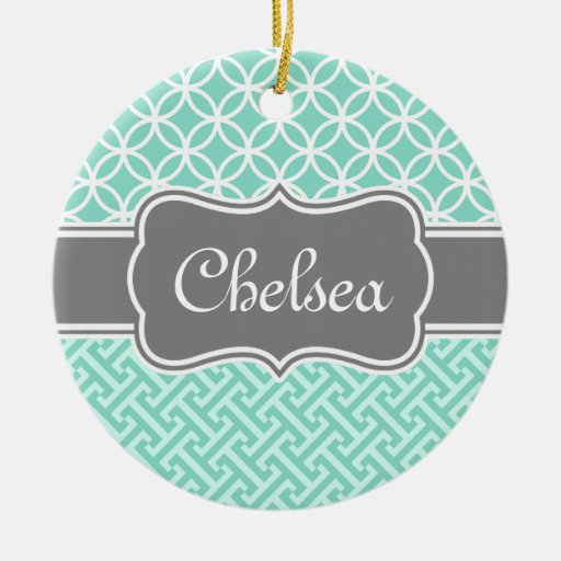 Mint Greek Key and Circle Patterns Grey Name Christmas Tree Ornaments