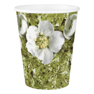 Mint Green Aluminium Foil Tropical Flower Jasmin Paper Cup