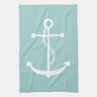 Mint Green Anchor Kitchen Towel