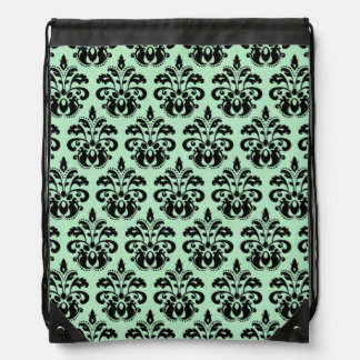 Mint green and black damask drawstring bag