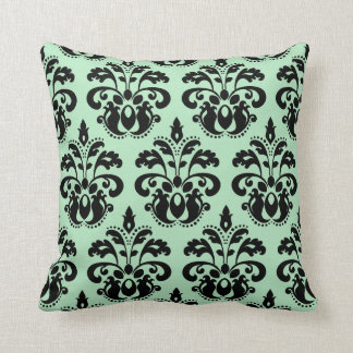 Mint green and black damask throw pillow