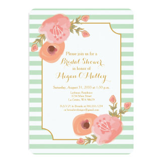 Mint Green and Coral Floral Invitation
