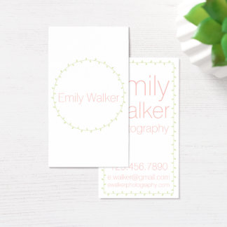Mint Green and Coral Laurel Vine Business Card