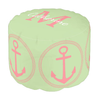 Mint Green and Coral Pink Anchors Monogram Pouf