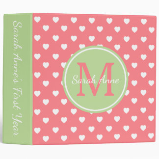 Mint Green and Coral Pink Hearts Monogram Binder