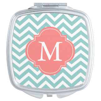 Mint Green and Coral Zigzag Pattern Monogram Travel Mirrors