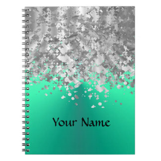 Mint green and faux glitter notebook