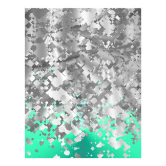 Mint green and faux glitter personalized letterhead