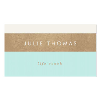 mint green and faux gold leather business card