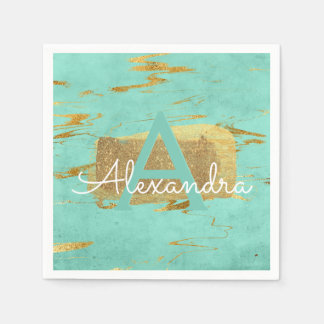 Mint Green and Gold Foil Elegant Marble Birthday Paper Napkin