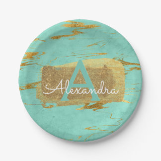 Mint Green and Gold Foil Elegant Marble Birthday Paper Plate