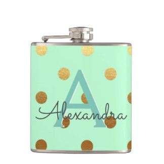 Mint Green and Gold Foil Polka Dots Party Hip Flask