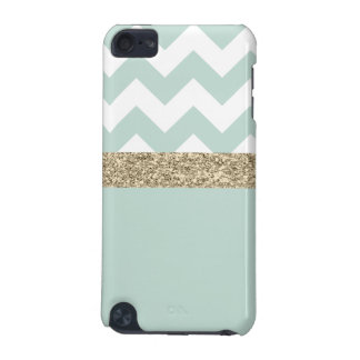 Mint Green and Gold Glitter Chevron iPod Touch 5G iPod Touch 5G Covers