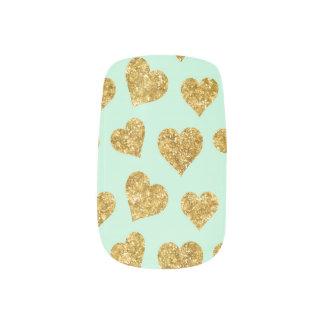 Mint Green and Gold Glitter Hearts Minx Nail Art