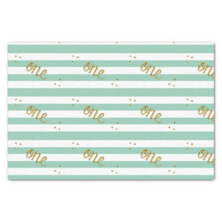Mint Green and Gold Glitter Striped ONE Custom Tissue Paper