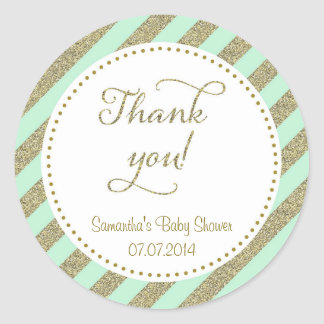 Mint Green and Gold Glitter Thank You Sticker