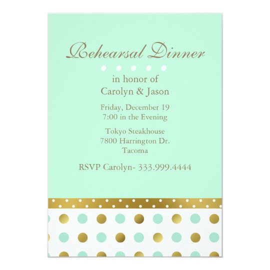 Mint Green and Gold Rehearsal Dinner Invitation
