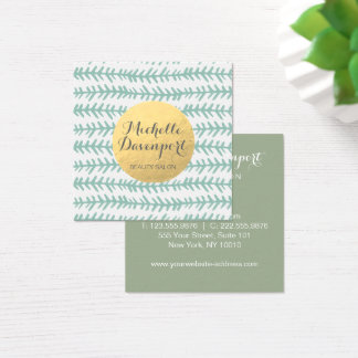 Mint green and gold square business card