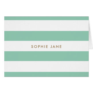 Mint Green and Gold, Striped Thank you card