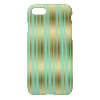 Mint Green And Gold Stripes Pattern iPhone 7 Case