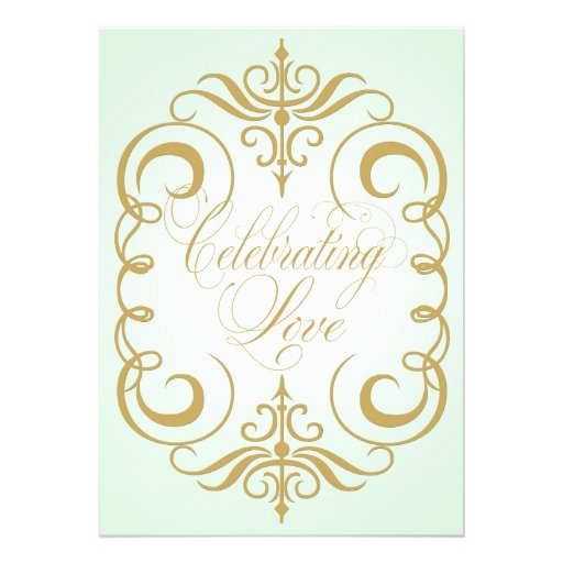 Mint Green and Gold Swirl Wedding Invitation