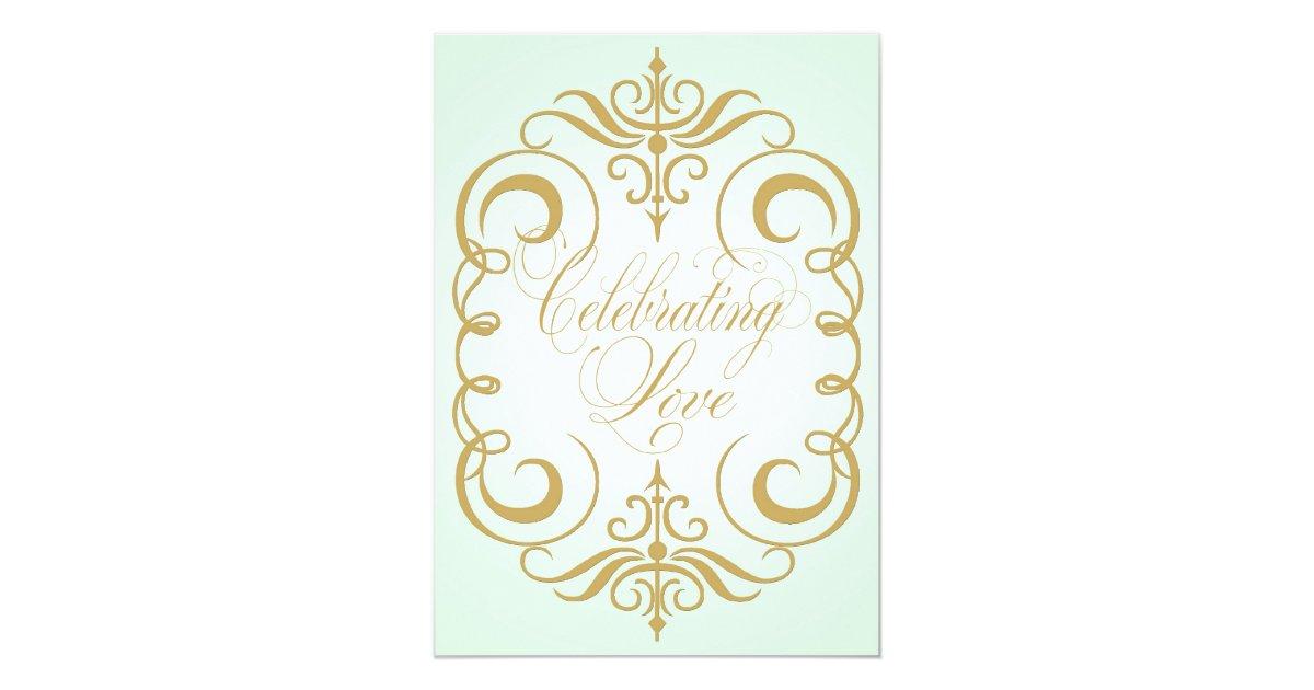 Mint Green And Gold Wedding Invitations: Mint Green And Gold Swirl Wedding Invitation