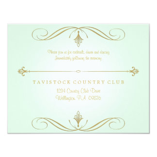 Mint Green and Gold Wedding Reception Card
