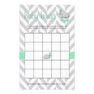 Mint Green and Gray Elephant Baby Shower Bingo Stationery