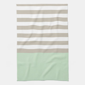 Mint Green and Neutral Gray Striped Pattern Kitchen Towel