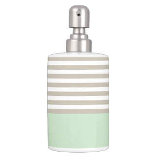 Mint Green and Neutral Gray Striped Pattern Soap Dispenser And Toothbrush Holder