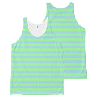 Mint Green and Pastel Blue Stripes All-Over-Print Tank Top