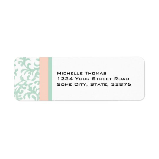 Mint Green and Peach Pink Damask Return Address Return Address Label
