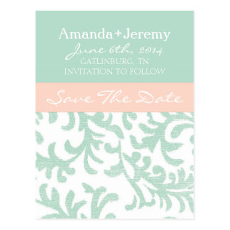 Mint Green and Peach Pink Damask Save The Date Postcards