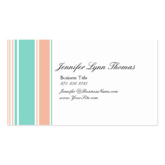 Mint Green and Peach Stripes Pack Of Standard Business Cards