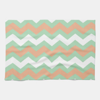 Mint Green and Peach Zigzags Kitchen Towel