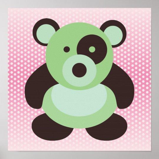 Mint Green and Pink Baby Panda Bear Poster