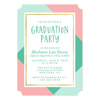 Mint Green and Pink Color Block Graduation Party Card