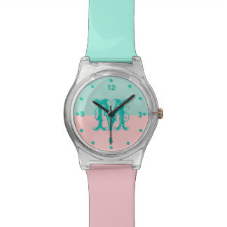 Mint Green and Pink Color Block Monogram Watch