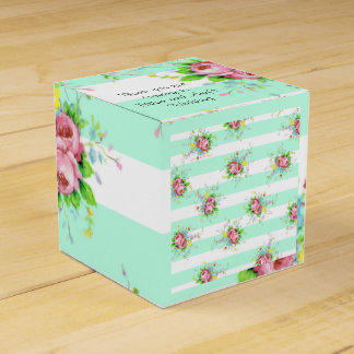 Mint green and Pink Floral Candy Box Favor Boxes