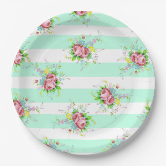 Mint Green and Pink Floral Dinner Paper Plates