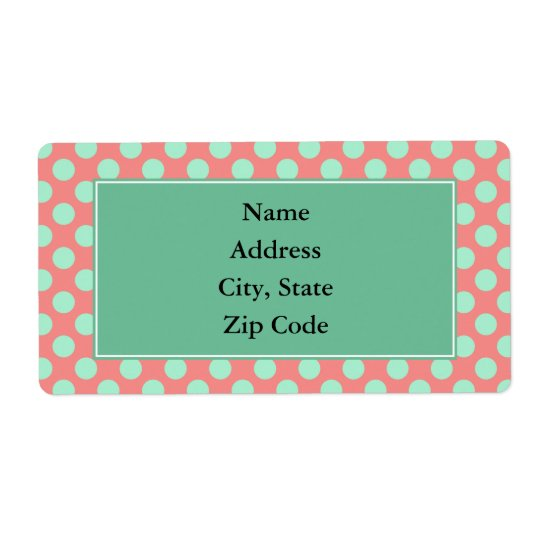 Mint Green and Pink Polka Dot Pattern Shipping Label